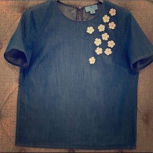 CeCe Flower Embellished Denim Blouse